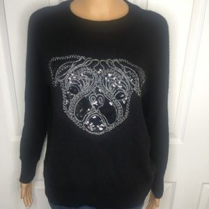🌸 Sparkly H&M Black Sweater w/Sequined Dog size S
